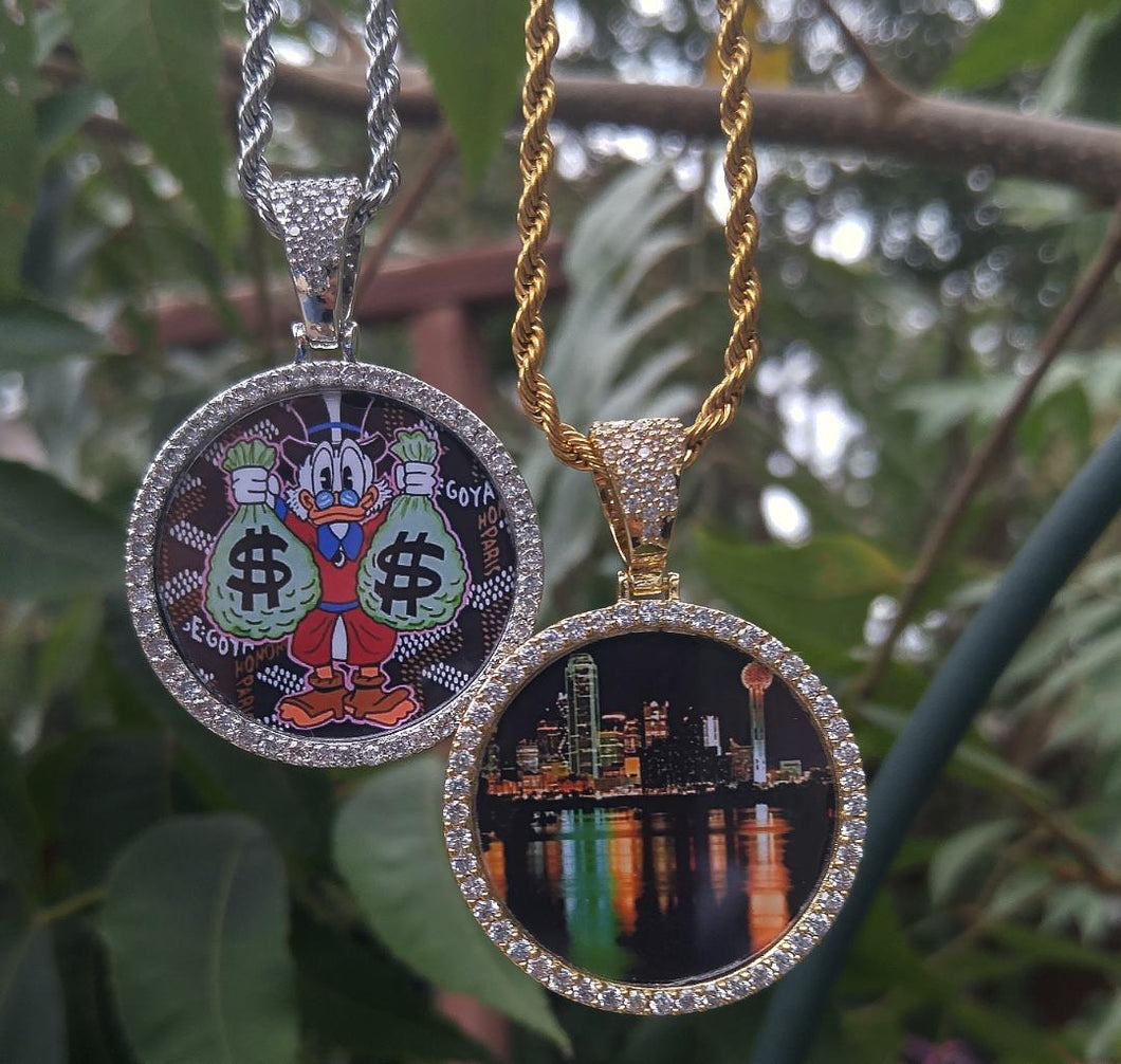 custom memory pic pendant with 20in rope chain