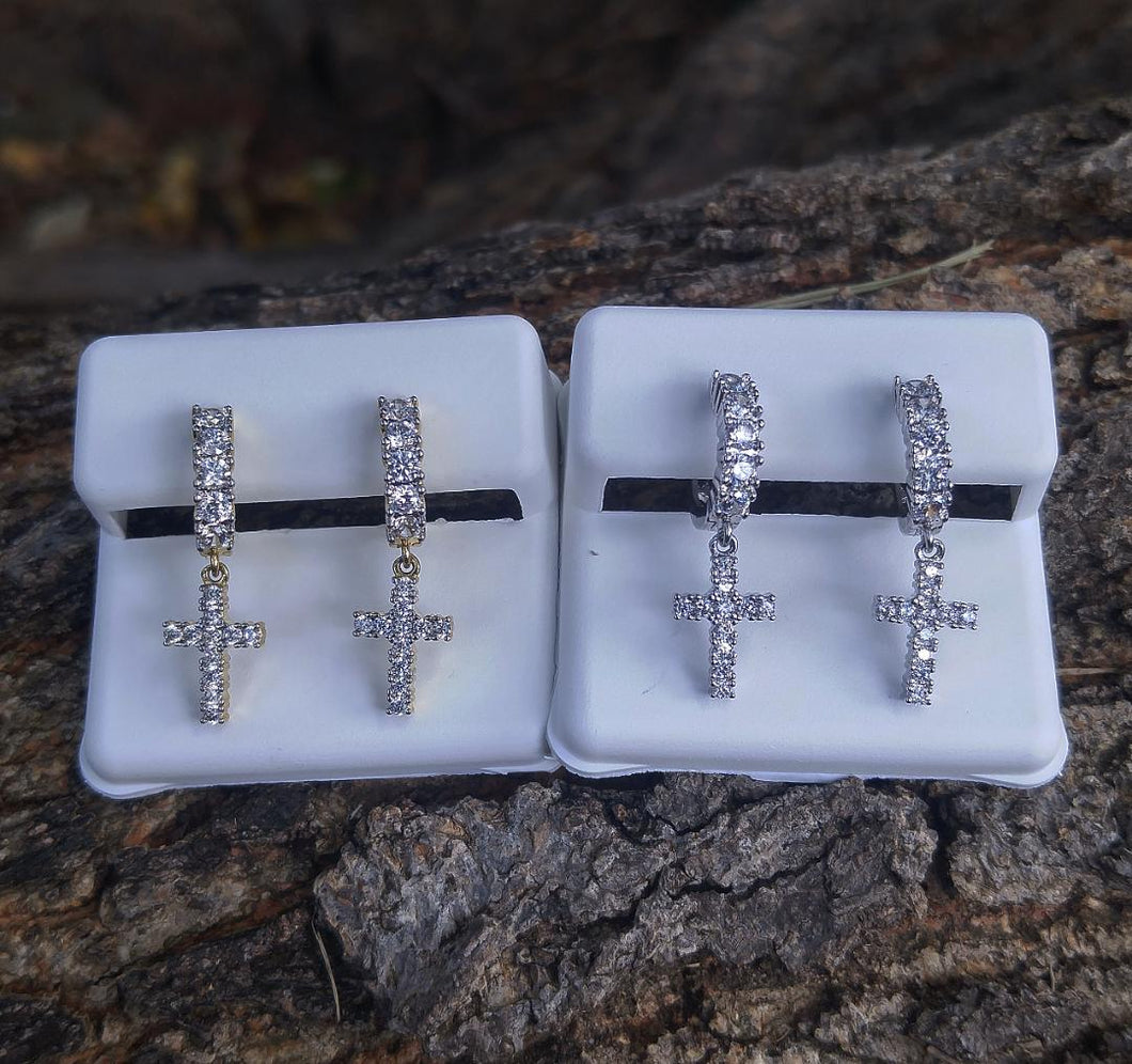lab diamond cross hoop earrings