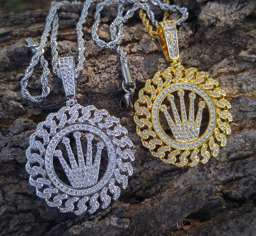 cuban rolex crown medallion with 20 in rope chain