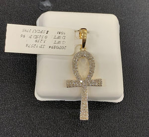 10k gold si diamond ankh