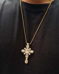 emerald cross with box chain