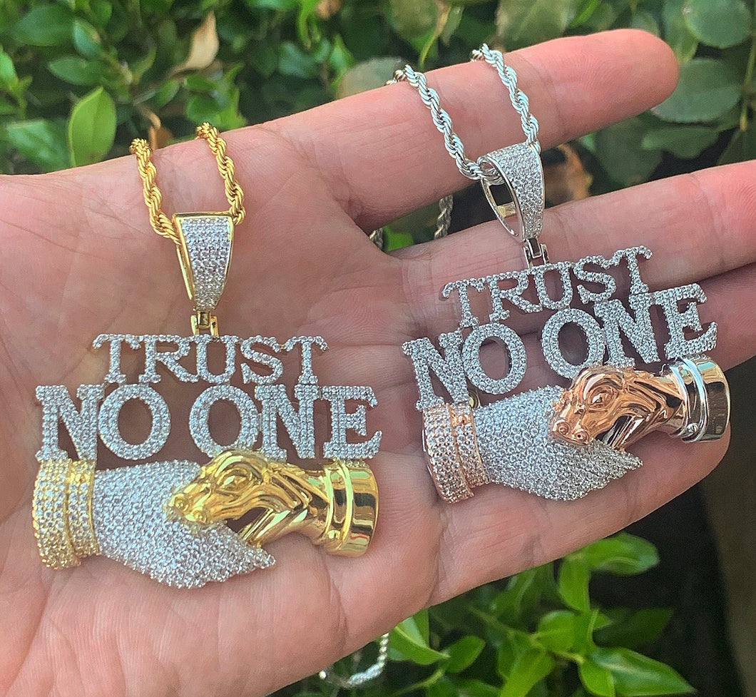 Trust no  one snake pendant with rope