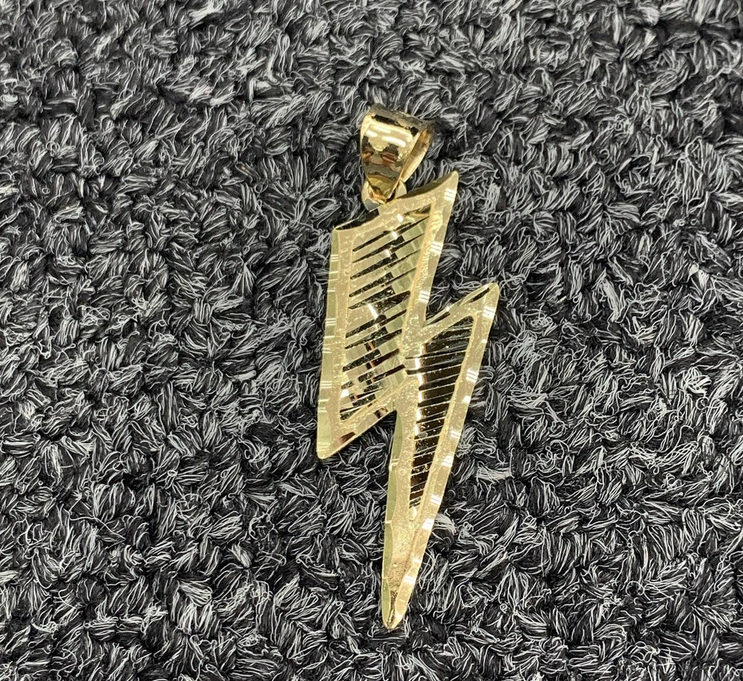 10k real gold lightning bolt pendant
