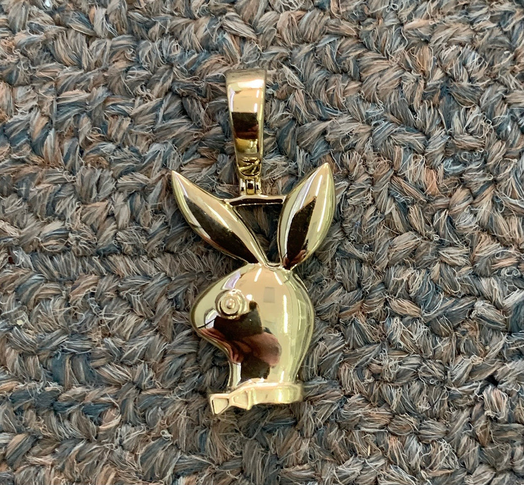 10k real gold playboy pendant