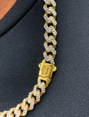 10k gold Monaco Cuban chain 8mm