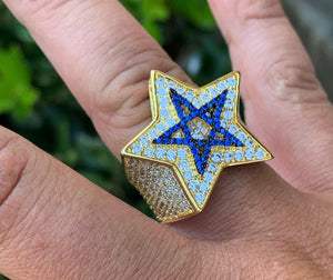 Blue star full diamond star ring