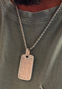 Asscher cut dog tag with rope chain