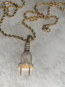 Gold plug with rope chain