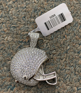 Football helmet 925 silver with 18 inch rope chain