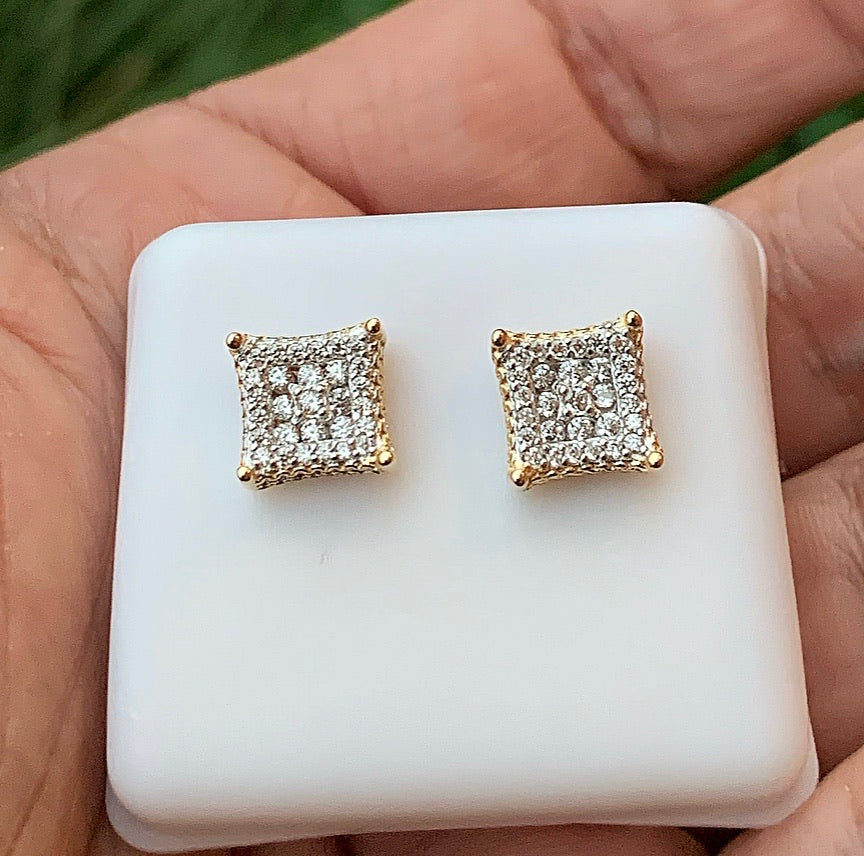 Gold vermeil 925 square earrings