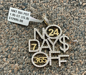 10k real diamond no days off pendant