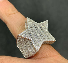 Load image into Gallery viewer, 925 silver baguette star ring