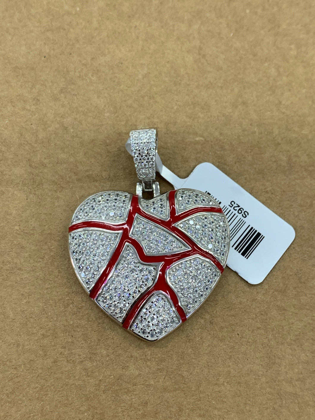 925 silver vein heart with rope chain