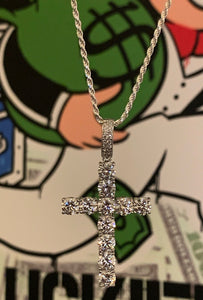 6mm 925 silver cross with rope chain