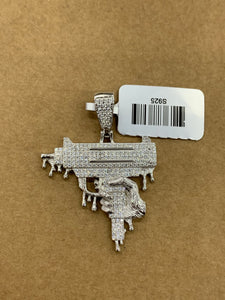 925 silver uzi pendant with rope chain