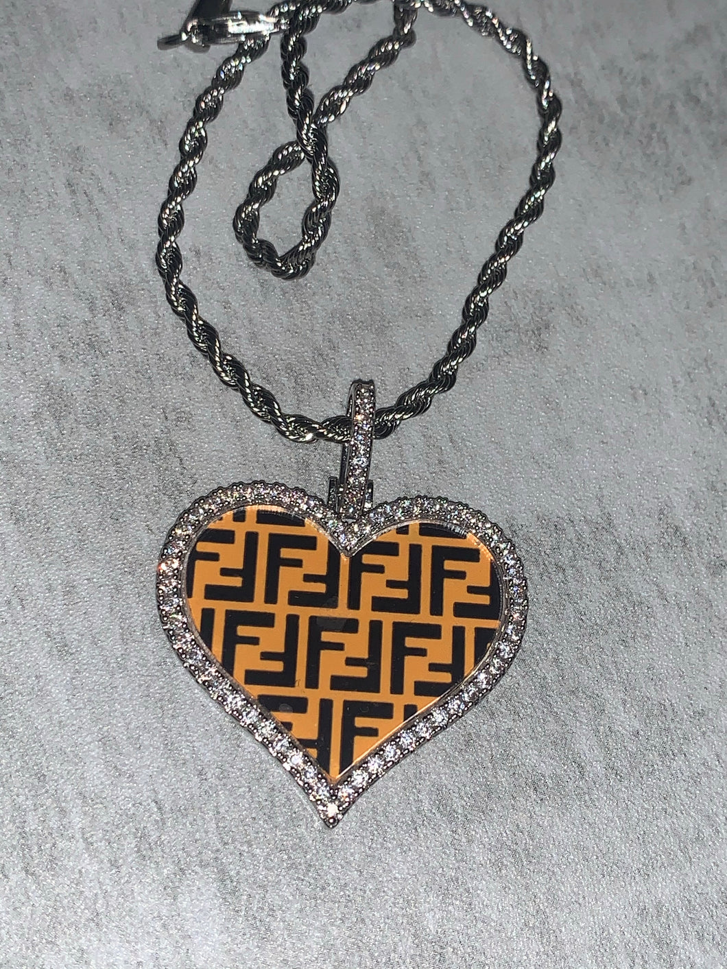 Custom fendi pendant with rope chain