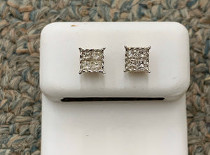 10k si diamond - square ice tray earrings