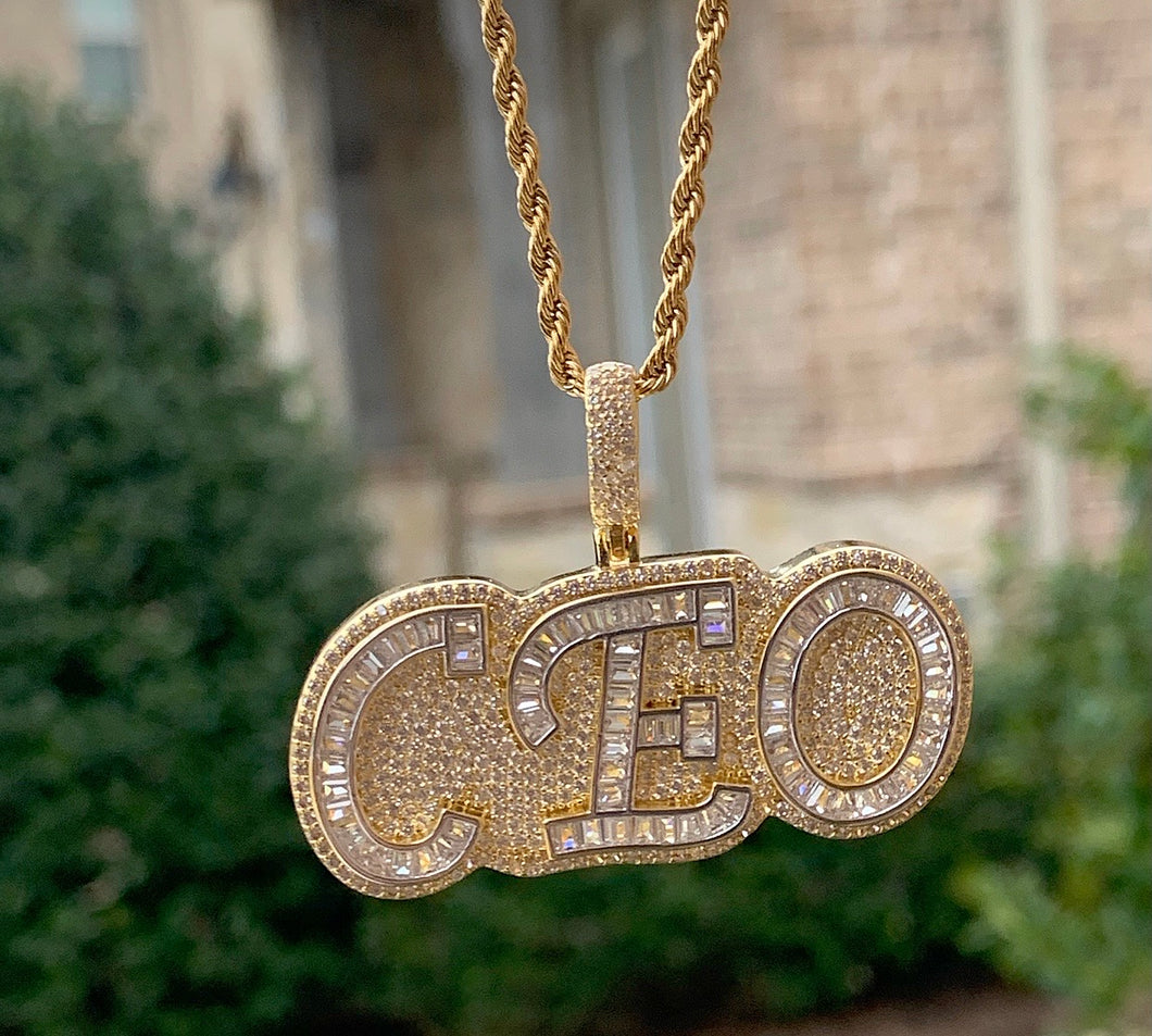 Baguette ceo pendant with rope chain