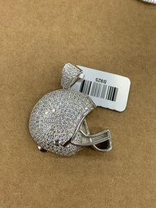925 silver football ball helmet with rope chain