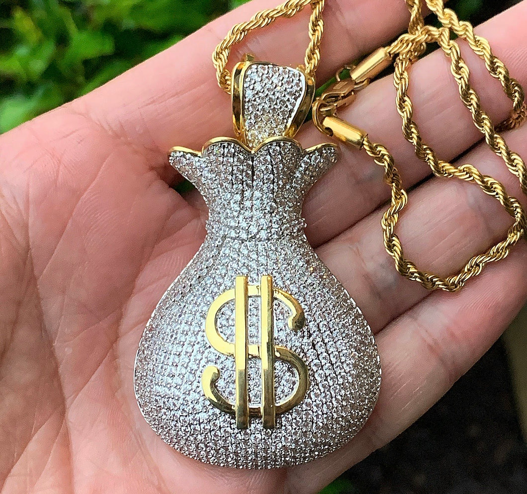 Large money bag pendant with rope