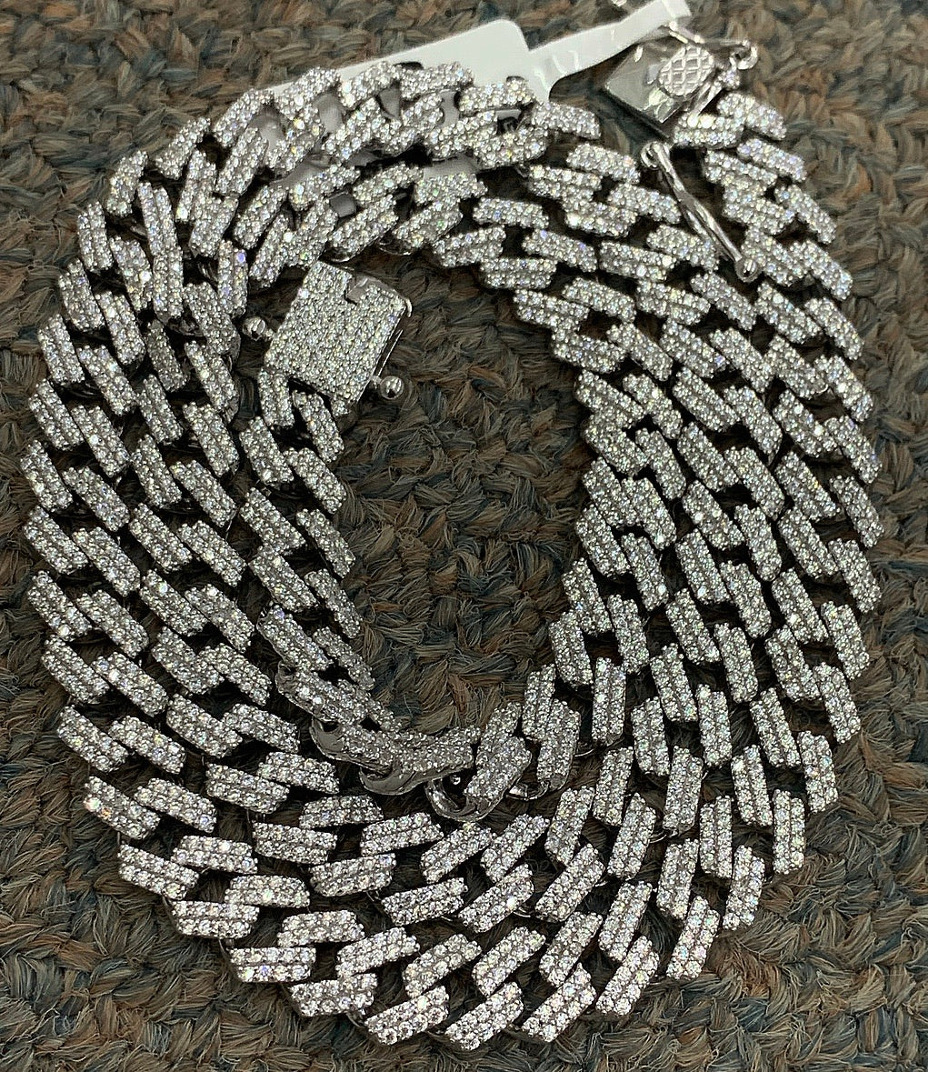 925 silver sharp edge Cuban necklace