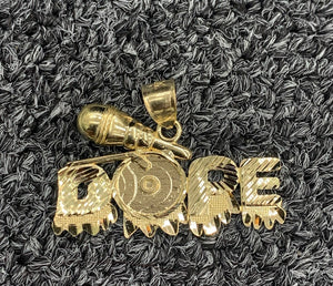 10k real gold dope pendant