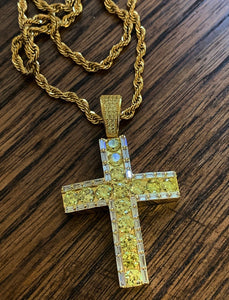 Big rock canary baguette cross with rope chain