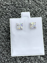 Load image into Gallery viewer, Princess cut 6mm stud earrings 925 silver
