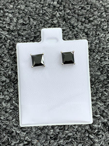 Princess cut 6mm stud earrings 925 silver