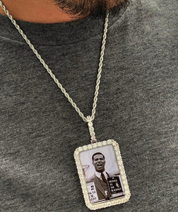 LARGE custom made memory rectanlge pendant with 20in rope chain