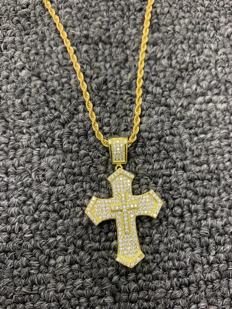 layered gold cross 20 in rope chain