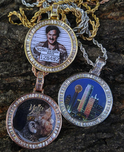 baguette border memory custom medallions with 20in rope chain