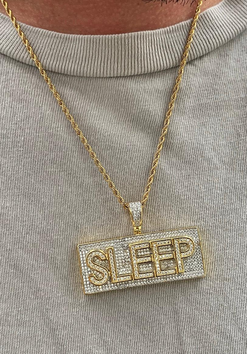block sleep pendant with 20 in rope chain