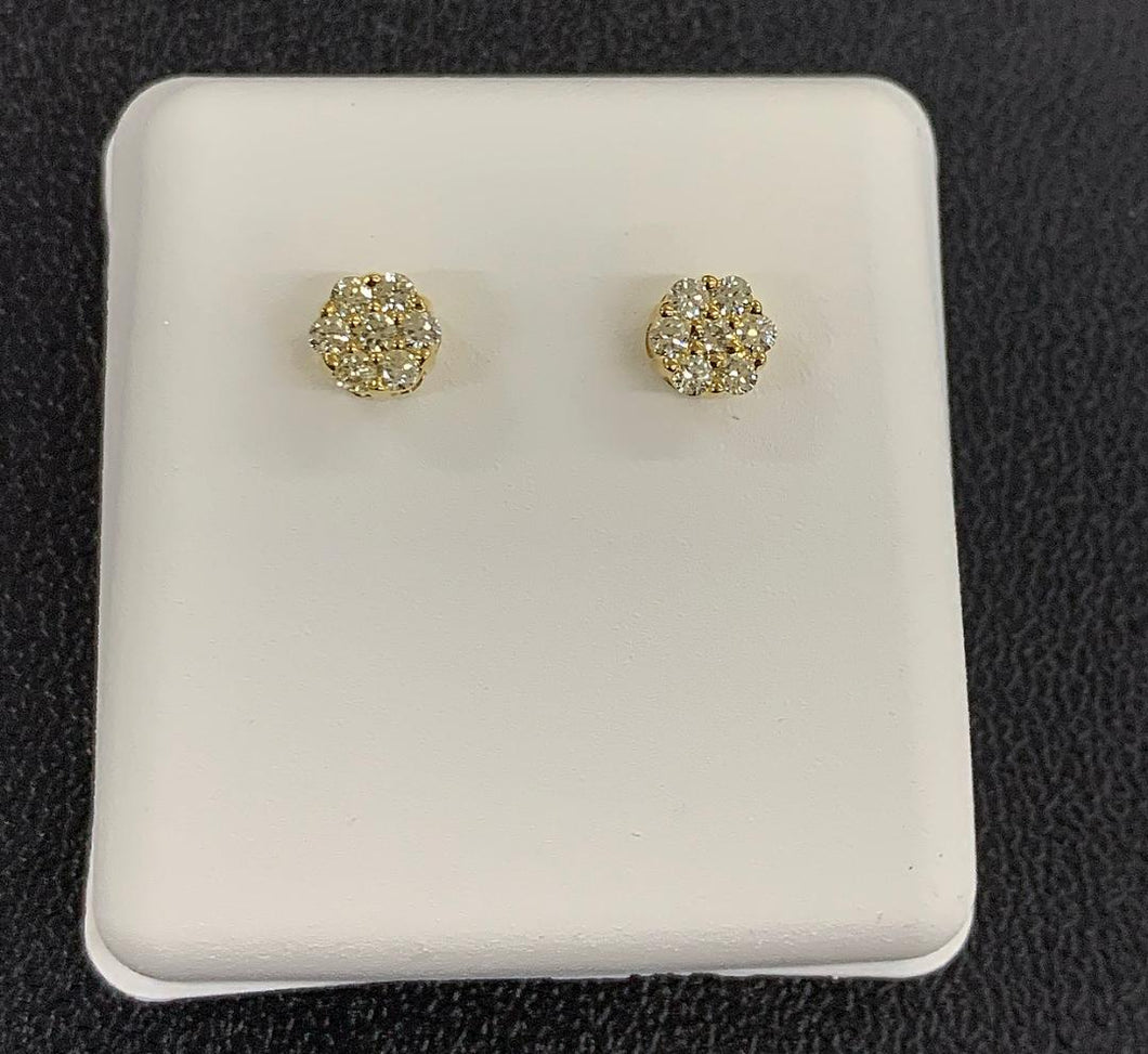 small cluster 10k diamond earrings