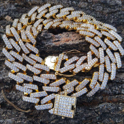 2 row 12mm prong set lab diamonds cuban link necklace  (18inch)