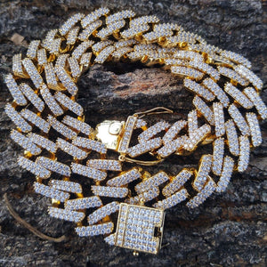 2 row 12mm prong set lab diamonds cuban link necklace