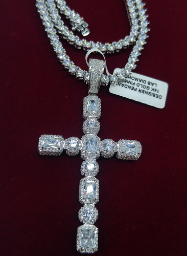 white gold lab diamond princess / solitaire cross and tennis chain set