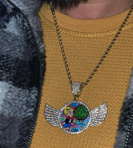 wings custom memory pendant with 20 in rope chain