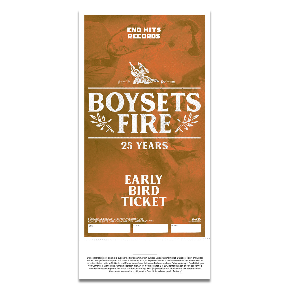BOYSETSFIRE - 29.11.2019 DE, Cologne @ Palladium (Family First Fest) - Early Bird Ticket