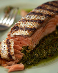 grilled salmon with cilantro-pecan pesto... 6 Easy, Innovative, & Healthy Recipes for Summer from Bathroom Bliss by Rotator Rod
