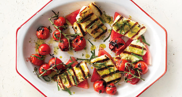 grilled halloumi or feta cheese with watermelon and basil-mint oil recipe... 6 Easy, Innovative, & Healthy Recipes for Summer from Bathroom Bliss by Rotator Rod