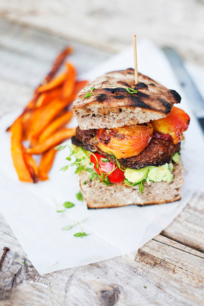 portobello and peach burger recipe... 6 Easy, Innovative, & Healthy Recipes for Summer from Bathroom Bliss by Rotator Rod
