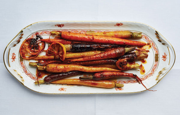 Harissa and Maple Roasted Carrots recipe with cumin and lemon... 6 Easy, Spa-Inspired Recipes for a Relaxing Thanksgiving Feast from The Bathroom Bliss Blog by Rotator Rod