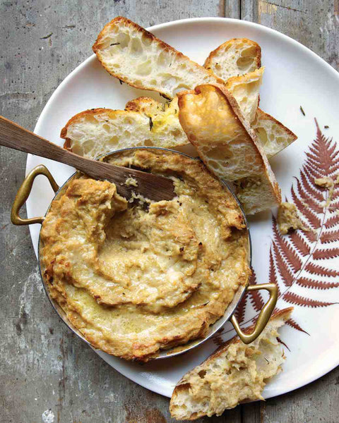 Warm Fennel and Parmesan Dip recipe with roasted garlic... 6 Easy, Spa-Inspired Recipes for a Relaxing Thanksgiving Feast from The Bathroom Bliss Blog by Rotator Rod