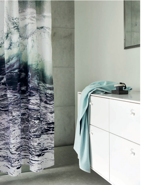 wave shower curtain in white bathroom with blue towel... 6 Perfect Beach Shower Curtains for Summer from Bathroom Bliss by Rotator Rod