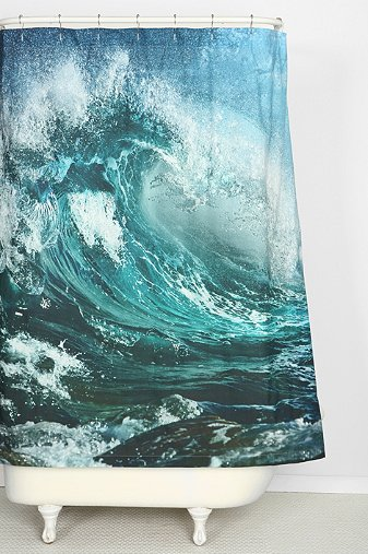 wave shower curtain with white freestanding bathtub... 6 Perfect Beach Shower Curtains for Summer from Bathroom Bliss by Rotator Rod