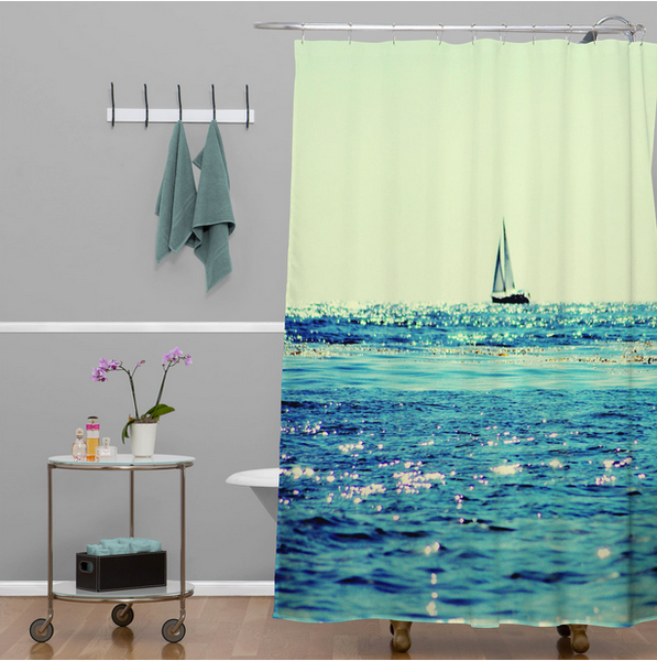peaceful sailboat on an ocean shower curtain... 6 Perfect Beach Shower Curtains for Summer from Bathroom Bliss by Rotator Rod