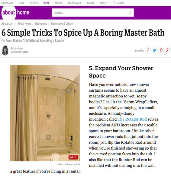 """6 Simple Tricks To Spice Up A Boring Master Bath: Go From Blah to Ahh Without Spending a Bundle""... Rotator Rod featured on About.com... Again! from Bathroom Bliss by Rotator Rod"