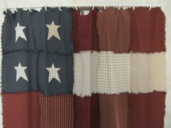 handmade American flag patchwork shower curtain... American Inspired Red, White & Blue Bathrooms from Bathroom Bliss by Rotator Rod