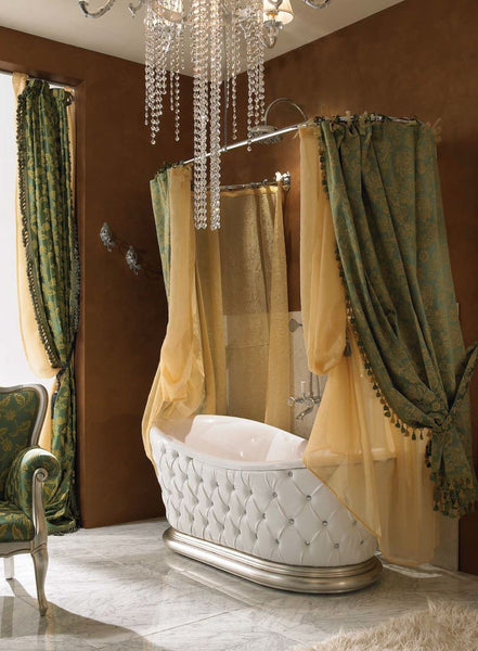 glamorous large bathroom featuring a freestanding bathtub, shower curtains, chandelier... Bathroom Decor Ideas: Luxurious Shower Curtains from Bathroom Bliss by Rotator Rod